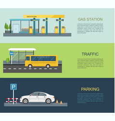 Gas station bus stop parking lot vector
