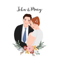 Wedding invitation Beautiful hugging couple with vector image