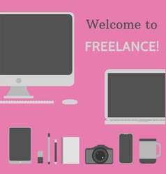 welcome to freelance desktop creative elements 5 vector image