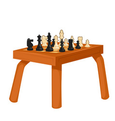Wooden chess table isolated on white background vector