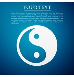 Yin Yang symbol flat icon on blue background vector image vector image