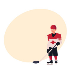 young hockey player in canadian uniform standing vector image