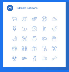 25 eat icons vector