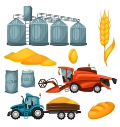 Agricultural set of harvesting items Combine vector