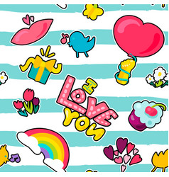 And cartoon romantic love seamless pattern vector