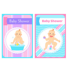 Baby shower greeting cards with kid in round frame vector