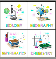 Biology and geography set vector