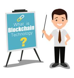 Blockchain technology business presentation vector
