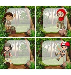 Border design with children in the jungle vector