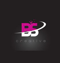 Bs b s creative letters design with white pink vector