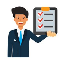 Businessman with check list cartoon flat vector