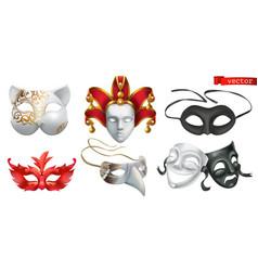 carnival masks 3d icon set vector image