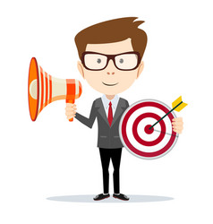cartoon businessman holding target and megaphone vector image