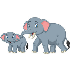 Cartoon happy mother and baby elephant vector