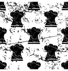 Chef hat pattern grunge monochrome vector