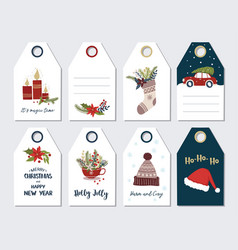 Christmas and new year greeting gift tags set vector