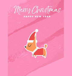 christmas and new year holiday chihuahua dog card vector image