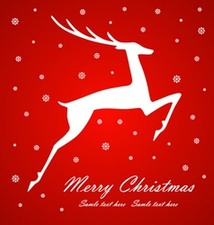 Christmas deer on red background vector