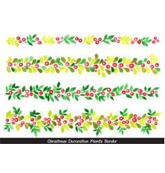 christmas plants border watercolor vector image