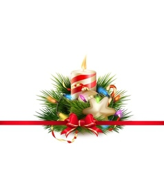 Christmas still life with candle EPS 10 vector