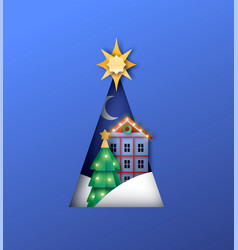 christmas tree paper cut and winter forest house vector image