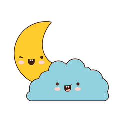Cloud and crescent moon colorful kawaii silhouette vector