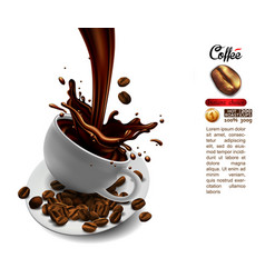 coffee advertising design with cup of coffee and vector image