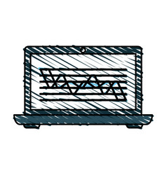 Color crayon stripe cartoon laptop computer with vector