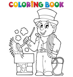Coloring book chimney sweeper vector