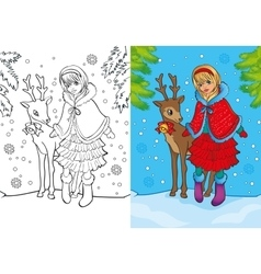 Coloring Book Of Santa Girl Stands With Deer vector