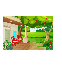 Cool back yard with red chair and trees cartoon vector
