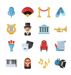 culture symbols masks and others theatre icon set vector image