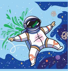 Cute cartoon astronaut flies with green leaves in vector