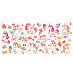 cute pony and cat unicorns isolated cartoon vector image