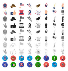 day of patriot holiday cartoon icons in set vector image