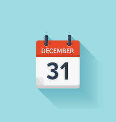 December 31 flat daily calendar icon vector