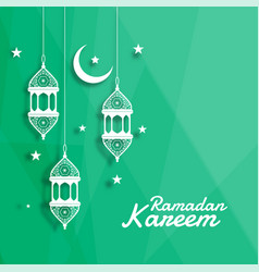 Decorative islamic lantern with moon and star vector