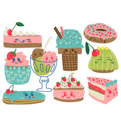 Delicious desserts set confectionery and sweets vector