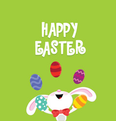 easter card with juggler rabbit vector image