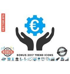 Euro Maintenance Hands Flat Icon With 2017 Bonus vector image