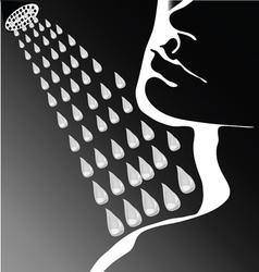 Face shower water vector image