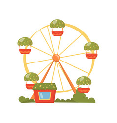 ferris wheel carousel in amusement park cartoon vector image