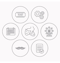 Ferris wheel ticket and theater masks icons vector image