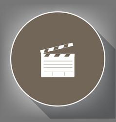 film clap board cinema sign white icon on vector image