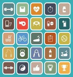 Fitness flat icons on green background vector