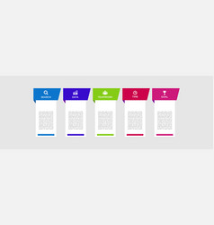Five steps infographics with main option business vector
