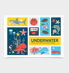 Flat underwater world infographic concept vector