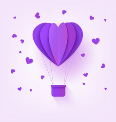 folded violet paper hot air balloon in form of vector image