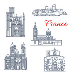 france landmark line icons of marseilles vector image
