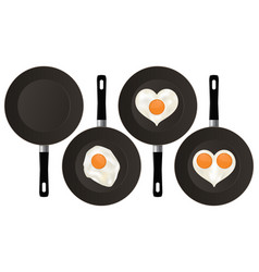 fried eggs on black frying pan vector image